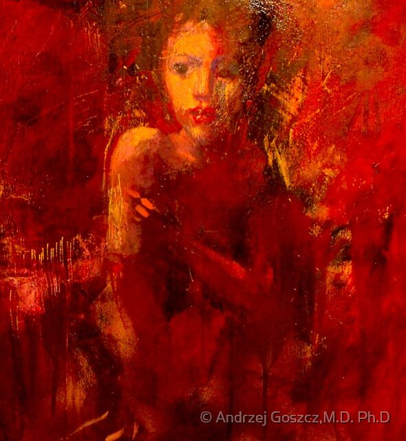 Lady in red . Painting by Michał Kwarciak. Photographer : Andrzej Goszcz by © Andrzej Goszcz,M.D. Ph.D