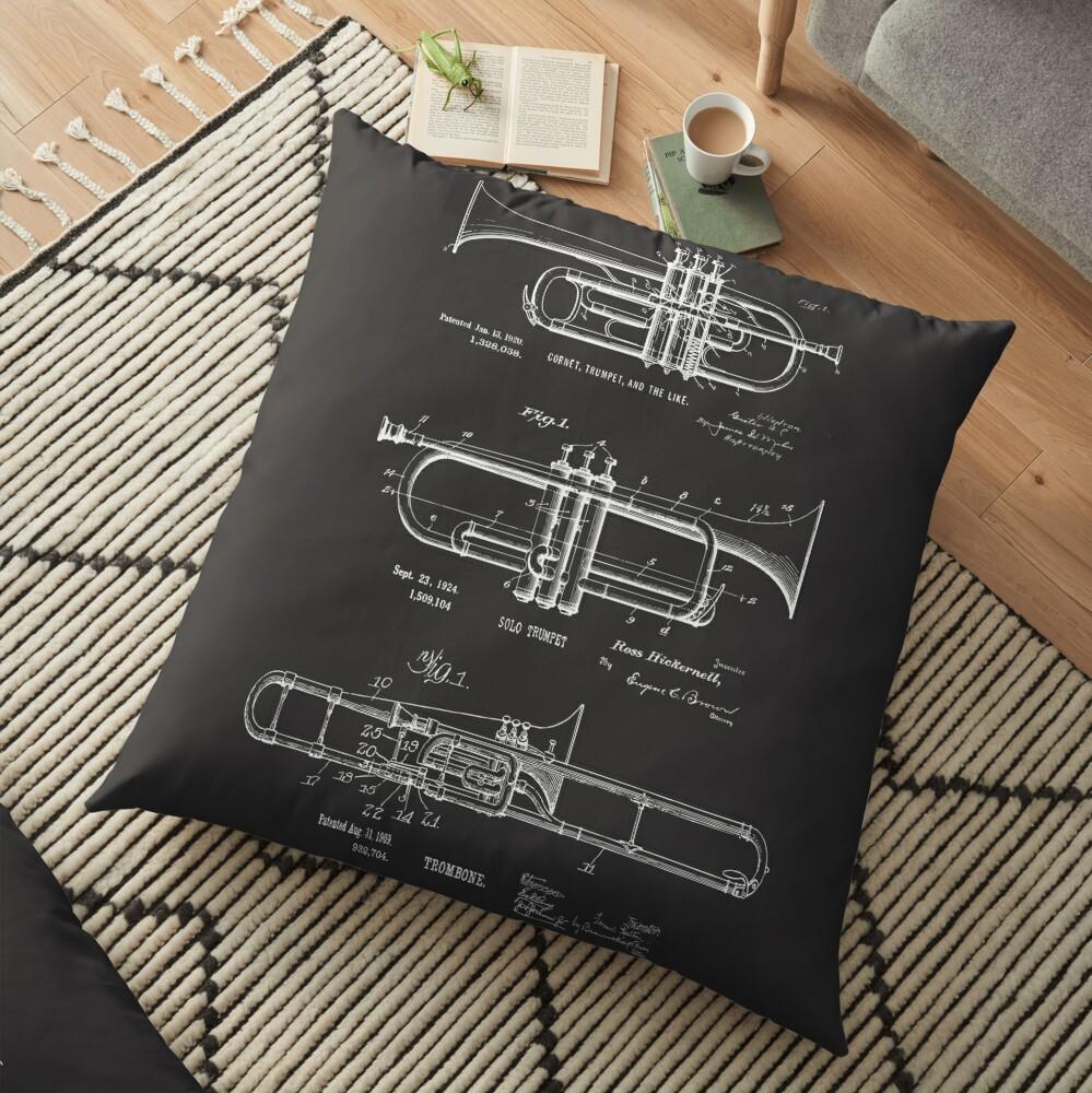 Musical Instruments Jazz Trumpet, Cornet, Trombone Vintage Patent Drawings  | Floor Pillow