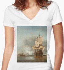 "Willem van de Velde II (Dutch Golden Age) ""Het Kanonschot (The Cannon Shot)"" Women's Fitted V-Neck T-Shirt"
