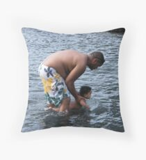 Daddy and baby girl having fun in the water at Black Sands Beach in Kona Throw Pillow