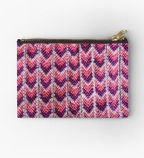 Pink and Purple Woven Bracelet Zipper Pouch