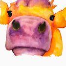 Cow face watercolor by Jeri Stunkard
