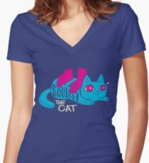 Squish that Cat! Women's Fitted V-Neck T-Shirt