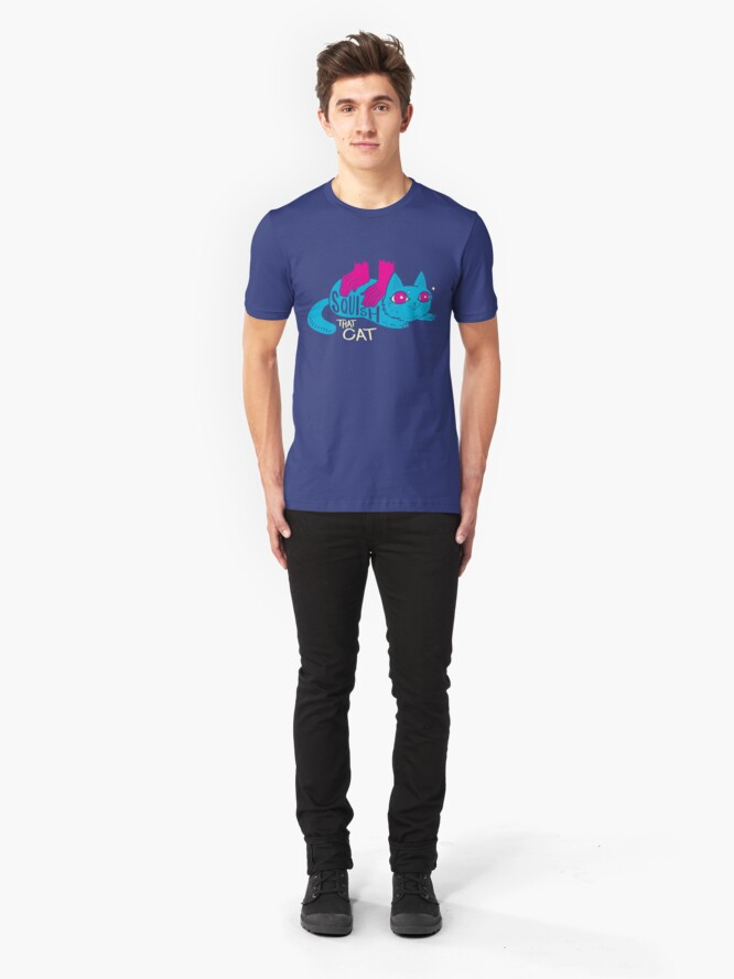 Alternate view of Squish that Cat! Slim Fit T-Shirt