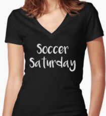 Soccer Saturday Soccer Dad Women's Fitted V-Neck T-Shirt