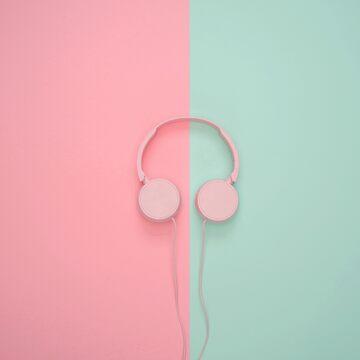 Pink and Blue Pastel Headphones by RedAngelDesigns