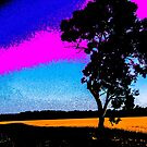 Painted tree and field by indiafrank