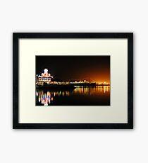 Shoreline Village at Night Framed Print