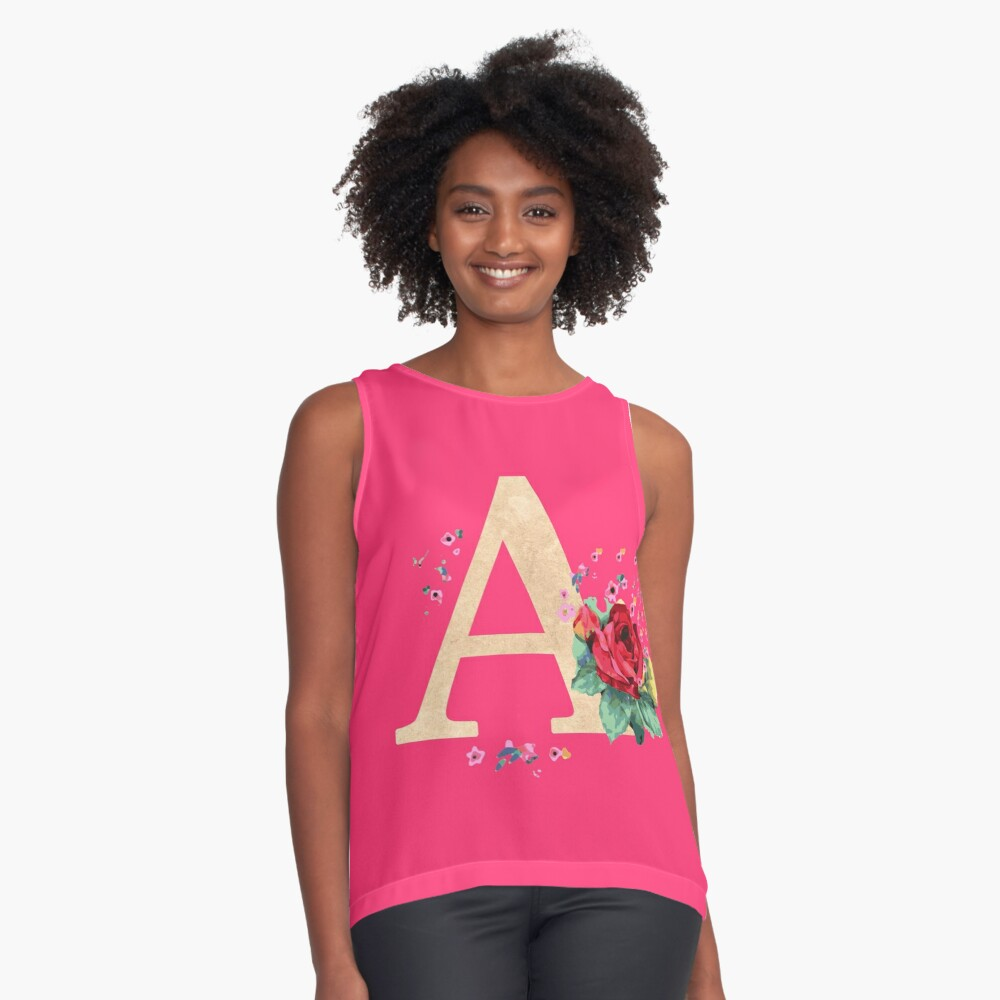 Letter A birthday gift for A names flower graphic Contrast Tank Front
