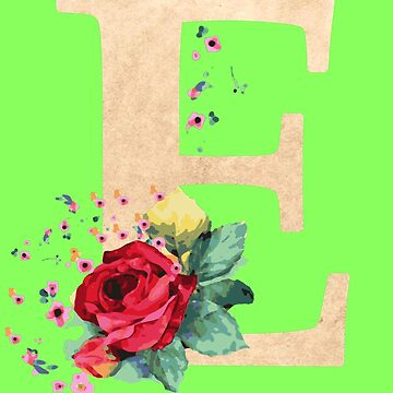 Letter E birthday gift for E names flower graphic by xsylx