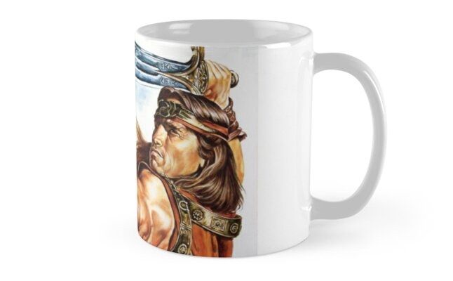 Conan The Barbarian Arnold Schwarzenegger movie poster original painting Classic Mugs