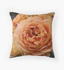 Orange Ruffles Roses Throw Pillow
