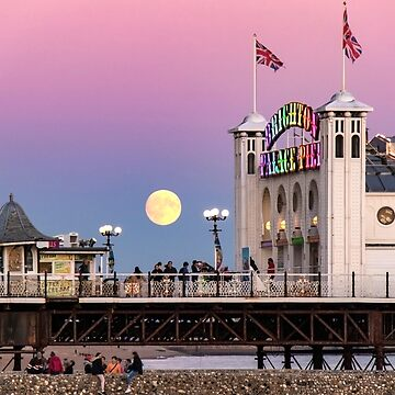 Harvest Moon rising over the Brighton Palace Pier by chuckirina