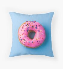 Pink Doughnut Throw Pillow