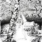 The Birch Maiden- ink illustration by Donata Zawadzka