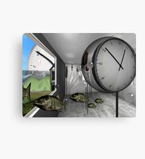 Clock and escaped fish Canvas Print