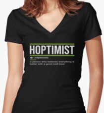 HOPTIMIST Definition for Craft Beer  Lovers Women's Fitted V-Neck T-Shirt