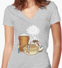 Happy Food Smells Women's Fitted V-Neck T-Shirt