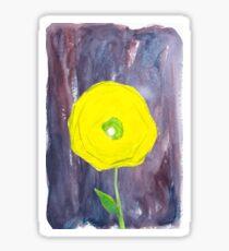 Yellow Flower in Blue Wash Sticker