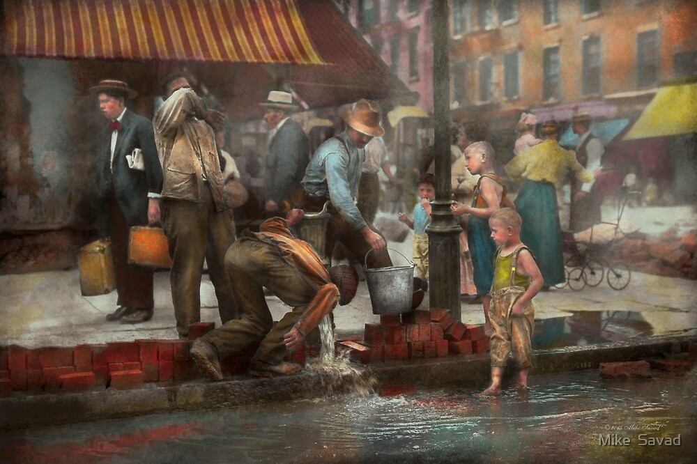 City - NY - Drinking water from a street pump 1910 by Michael Savad