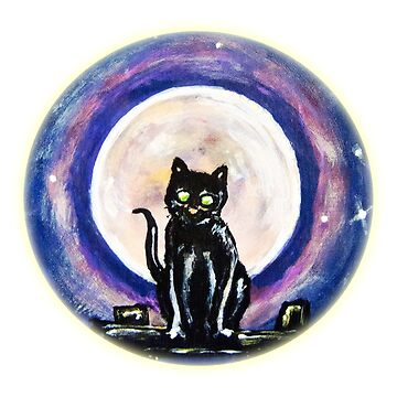 Black Cat, Full Moon by justafriend