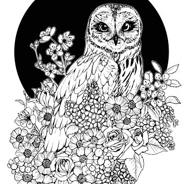 Owl Floral Eclipse - Black and White by plaguedog