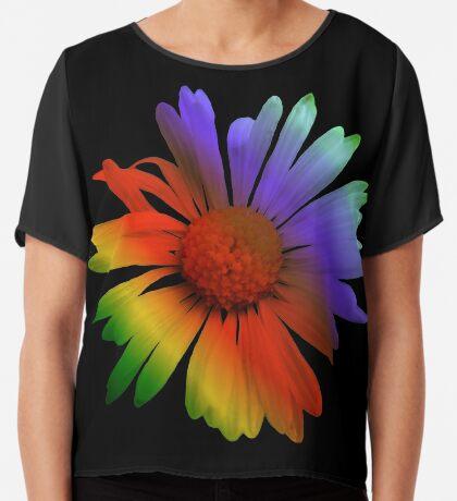 wunderschöne, bunte Margerite, Blume, Regenbogen Chiffontop