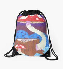 Two Mushrooms, One Stump Drawstring Bag