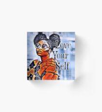 Love Your Self African American Black Woman Acrylic Block