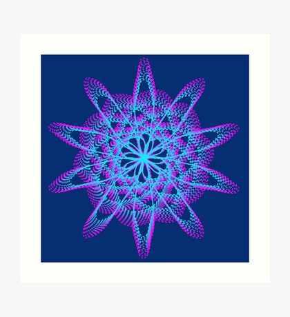 Spirograph with pink and blue Art Print