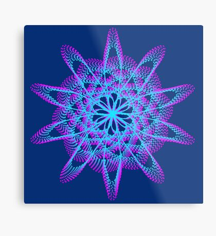 Spirograph with pink and blue Metal Print