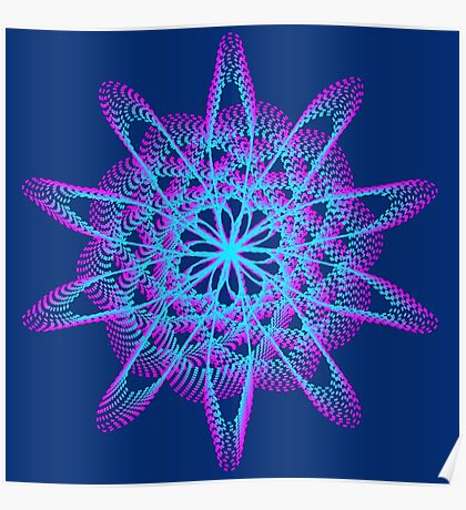 Spirograph with pink and blue Poster