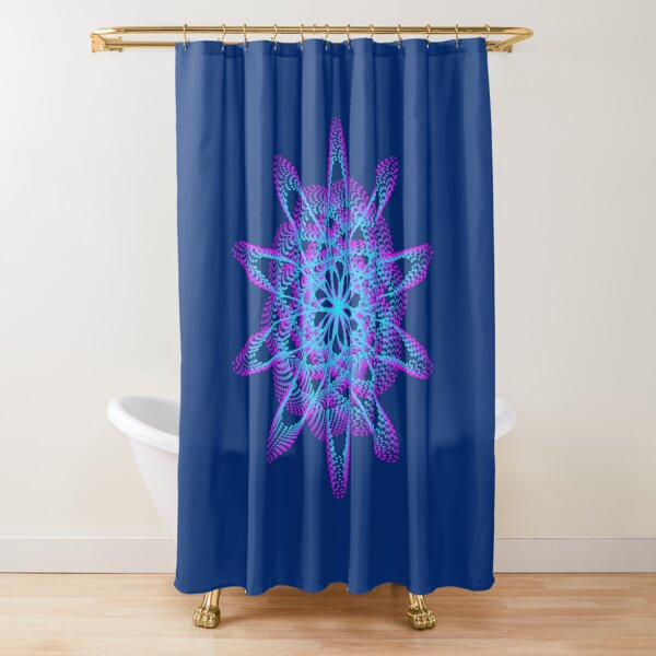 Spirograph with pink and blue Shower Curtain