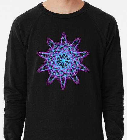 Spirograph with pink and blue Lightweight Sweatshirt