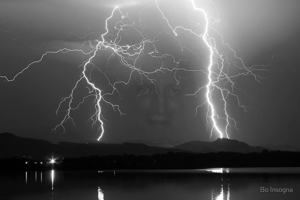 Black and White Mystic Lightning Lake Storm by Bo Insogna