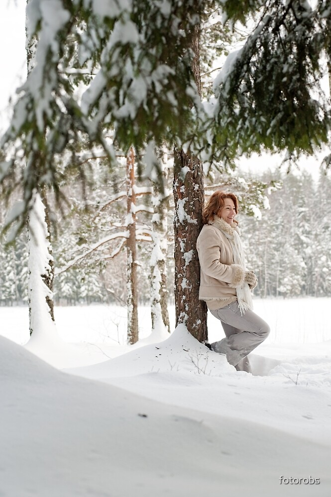 Woman in forest by fotorobs