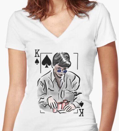 Stu Ungar Poker Fitted V-Neck T-Shirt