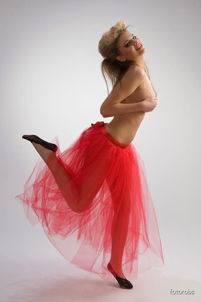 Dancing girl in red skirt by fotorobs