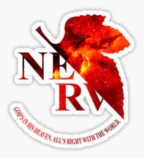 Space Genesis Evangelion 02 || Nerv Logo  Sticker
