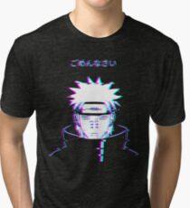 Nahiko Pain Akatsuki Inspired Design Glitch Error Effect Tri-blend T-Shirt