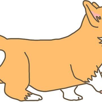 Cute Cartoon Corgi Puppy Walking by CarlosAlberto