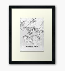 Hong Kong, Hong Kong Light Map Framed Print