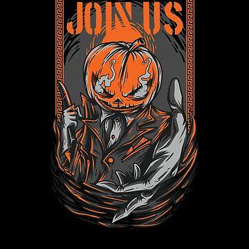 Join Us Halloween Evil Pumpkin Street Art for Men Women and Kids by Lunaco