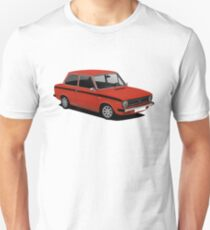 DAF 66 Saloon - Super Luxe - car illustration - red with black stripe. Slim Fit T-Shirt