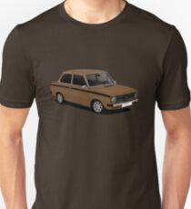 DAF 66 Saloon - Super Luxe - car illustration - brown with black stripe Slim Fit T-Shirt