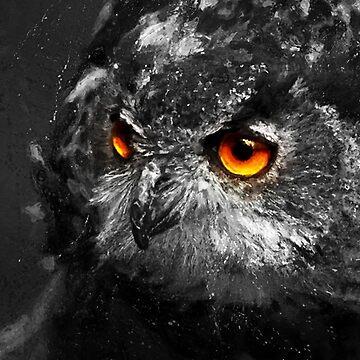Night Huntress, Owl Digital Painting by Jarrod44