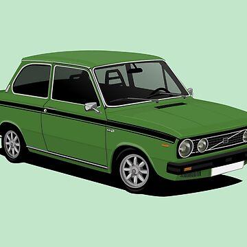 V66 saloon vintage car -  illustration -  green by knappidesign