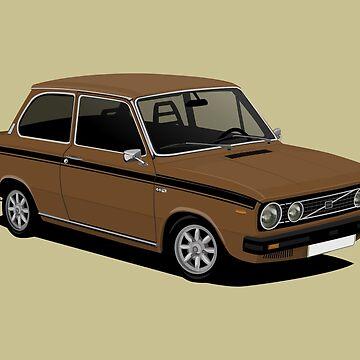 V 66 saloon - retro car illustration -  brown by knappidesign