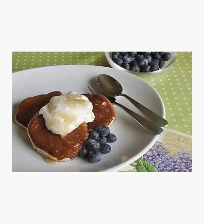 Crumpets, cream and blueberries Photographic Print