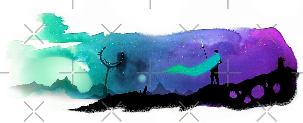Fantasy landscape illustration - Watercolor digital artwork - Desert wanderer by zachholmbergart